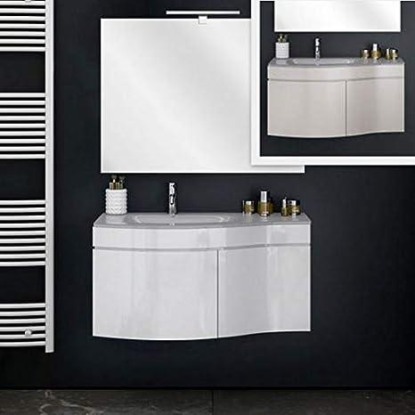 Muebles Bano Lavabo Cristal.Mueble De Bano Con Lavabo De Cristal Suspendido Con Espejo