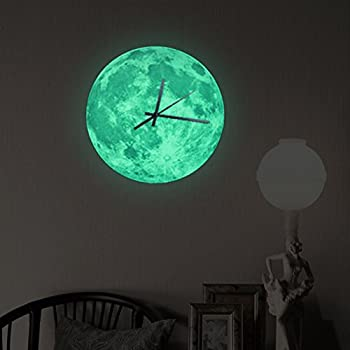 funlife® 30cm/11.8 in Glowing Moon Lunar Art DIY Wall Colck Art for Room Decoration wc1361