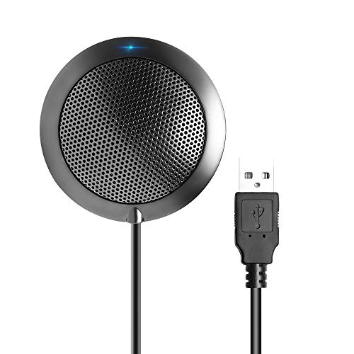 Conference Microphone, Omnidirectional Condenser USB Computer Microphone for Video Conference, Recording, Skype, Online Class, Interview, Plug & Play PC Mic for Windows Mac iOS Desktop (Best External Microphone For Mac)