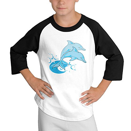 MULTY9 Two Dolphin Jumping Out Of Water Child Youth 3/4 Raglan T-Shirt Top Large