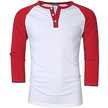 Men Casual 3 Button Crew Neck 3/4 Sleeve Raglan Baseball Jersey Henley T Shirts