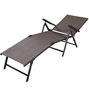 LTL Shop Pool Chaise Lounge Chair Outdoor Patio Textilene Adjustable