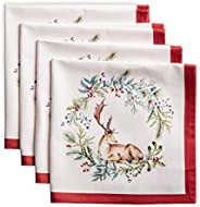 Maison d' Hermine Holly Time 100% Cotton Soft and Comfortable Set of 4 Napkins Perfect for Family Dinners