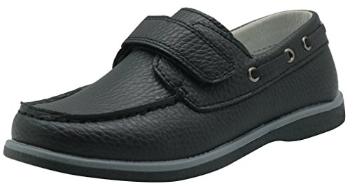 Apakowa Kids Boys Loafers Casual Slip On Boat Shoes with Strap (Toddler/Little Kid/Big Kid) (Color : Black, Size : 9.5 M US ()