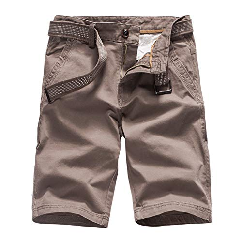 ZEFOTIM Shorts for Men 2019 New Summer Outdoors Casual Loose Pure Color Cotton Overalls Shorts Pants(Coffee,38) ()