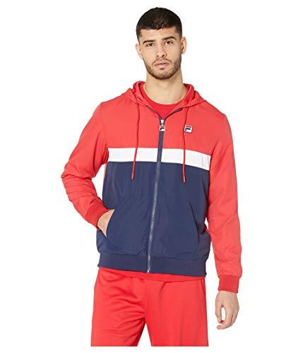Fila Men's Ambrose Hooded Wind Jacket Chinese Red/Peach/White Medium