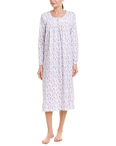 Eileen West Cotton Jersey Long Sleeve Ballet Nightgown (5819949) M/Lavender Floral Dot