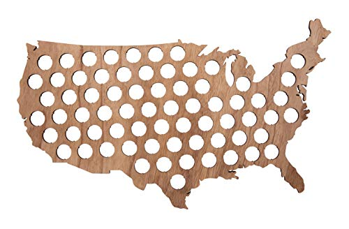 Beer Cap Map - USA Beer Cap Map Holds 69 Bottle Caps, Beer Cap Display for Gift, Wall Decor, 22.7 x 15.6 x 0.3 Inches