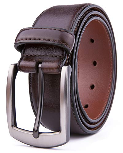 Men Genuine Leather Belts, Fashion & Classic Design for Casual and Dress (34, Brown #2)]()