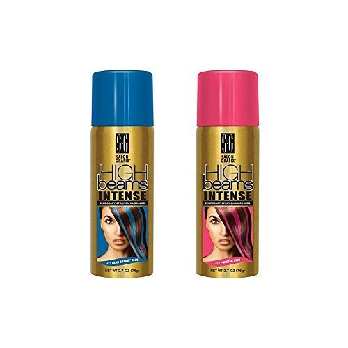 High Beams Intense Temporary Spray Hair Color Popstar Pink & Head Bangin Blue (Harley Quinn Hair)