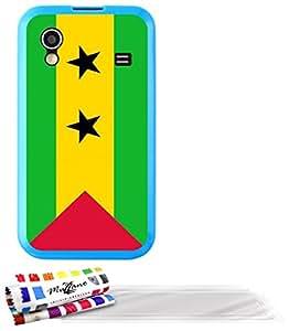 """Carcasa Flexible Ultra-Slim SAMSUNG S5830 de exclusivo motivo [Sao Tome e Principe Bandera ] [Azul] de MUZZANO  + 3 Pelliculas de Pantalla """"UltraClear"""" + ESTILETE y PAÑO MUZZANO REGALADOS - La Protección Antigolpes ULTIMA, ELEGANTE Y DURADERA para su SAMSUNG S5830"""