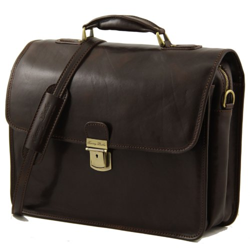 81410964 with VERNAZZA briefcase compartment brown Leather LEATHER Laptop TUSCANY UAPqwrgU