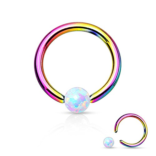 Opal Captive Bead Ring 16g 316L Surgical Steel (Rainbow)