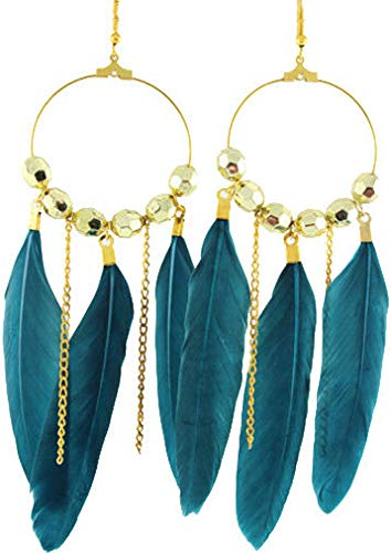 - 1set fashion turquoise chandelier feather earrings chain circle beads jewelry