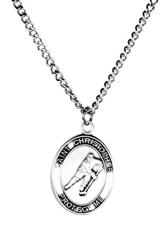 Mens Pewter Saint Christopher Sports Athlete Medal, 1 Inch - Hockey