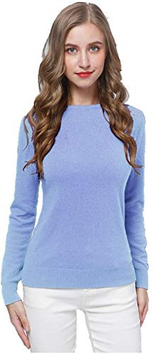 Acmewear Women's 100% Pure Cashmere Long Sleeve Crew Neck Sweater (Medium, Belgravia)