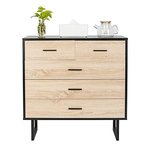 Classic Craft Personality Bedside Cabinet 31.5x15.75x31.89 Inch Oak Color High-Quality Wood Console with 5 Utility Large Drawer Stable Sturdy Hallway Storage Night Table