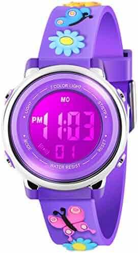 Kid Watch 3D Cute Butterfly Cartoon Multi Function 50M Waterproof Sport LED Alarm Stopwatch Digital Child Wristwatch for Boy Girl Purple