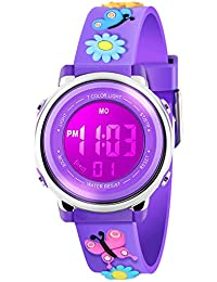 Kid Watch 3D Cute Butterfly Cartoon Multi Function 50M Waterproof Sport LED Alarm Stopwatch Digital Child Wristwatch for Boy Girl Purple
