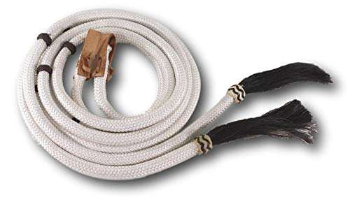 D.A. Brand 8' White Poly Braided Split Reins Horse Hair Ends Horse Tack ()