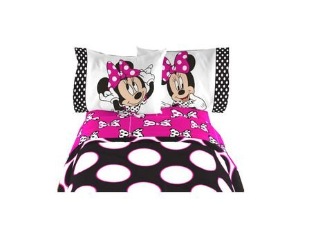 Disney Minnie Mouse Pink Bow Excellent Designed Kids Twin Sheet 3 Pcs Set 66