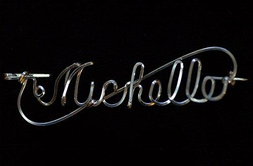 Script Name Pin in Sterling Silver Square Wire -