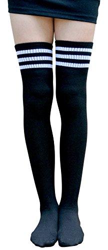 AM Landen Women's Black Stripe Over Knee Socks Old School Girls Tube (Fits Am Girl)