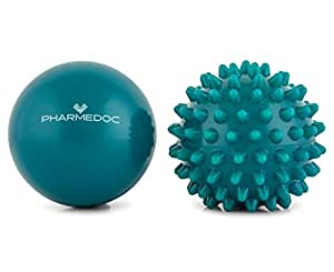 PharMeDoc Acupressure Massage Ball Set - 2.5 inch - Deep Tissue Neck, Back, Arm & Foot Massager for Physical Therapy, Athletes, Yoga - Smooth and Spiky Muscle Roller Lacrosse Balls (Combo)