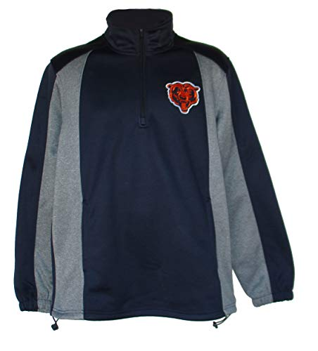 NFL Team Apparel Chicago Bears Mens Size Large Navy Blue and Grey Solid Fleece 1/4 Zip Pullover Jacket - Navy Blue Chicago Bears Jacket