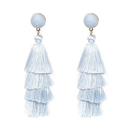 - BODYA Bohemian Tassel Drop Dangle Earrings with Alloy-Plated Ring (Light Blue)