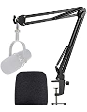 Shure MV7 Boom Arm with Pop Filter - Mic Stand with Foam Cover Windscreen Compatible with Shure MV7 Microphone by YOUSHARES