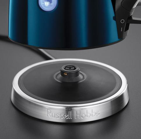 russell hobbs bouilloire jewels 1 7 l 2 400 w acier brillant sans fil illumination bleue. Black Bedroom Furniture Sets. Home Design Ideas
