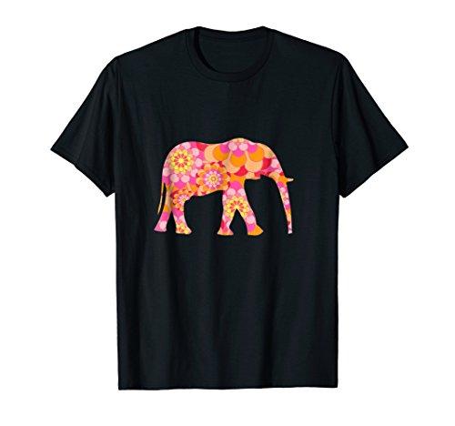 Pink Elephant Silhouette Shirt Pretty Flower Pattern