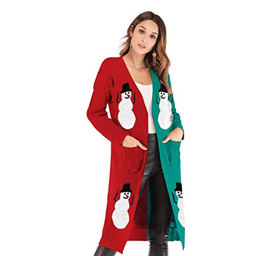 44303dff00 Women s Christmas Cardigan Long Knit Sweater Outerwear Casual Coat Open  Front Cardigan