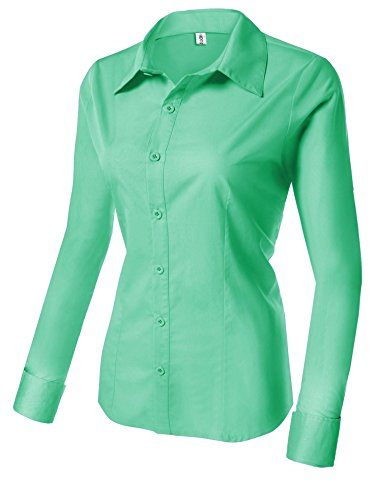Hotouch Womens Long Sleeve Button Down Shirt with Stretch (Green M) by Hotouch (Image #2)