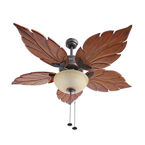 (ZWS Ceiling Fan with Light 52 Inches Ceiling Fan Lights Decorative Fans Brief Retro Indoor Chinese Style Maple Ceiling Light Living Room Used Indoor (Size : 130cm))