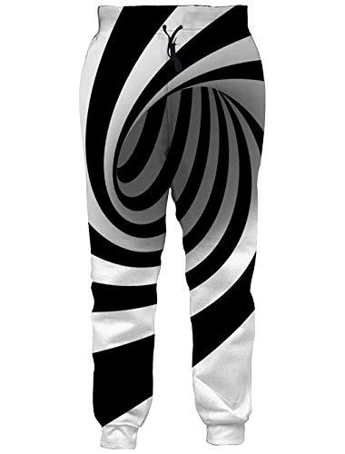 RAISEVERN Unisex Jogger Pants Black&White Sweatpants Sportswear Circle Gym Trousers with Pocket for Men &Women