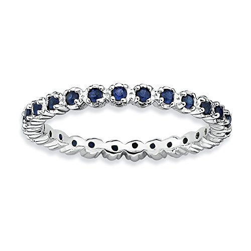 Sterling Silver Stackable Expressions Created Sapphire Ring Size 10