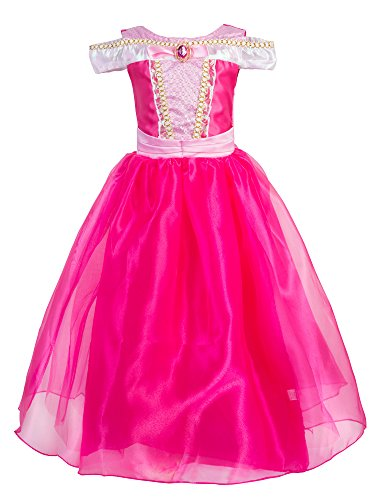 Okidokiyo Little Girls Princess Aurora Costume Halloween Party Dress Up (Pink, 5-6 Years) ()