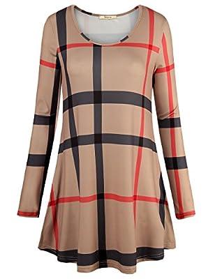 Bebonnie Women's Casual Long Sleeve Plaid T-shirt Loose Tunic Tops Blouse