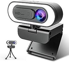 NIYPS 1080P Webcam mit Mikrofon und Ringlicht, HD Facecam mit Abdeckung und Stativ für PC/MAC/Laptop/Desktop, USB Web Cam...