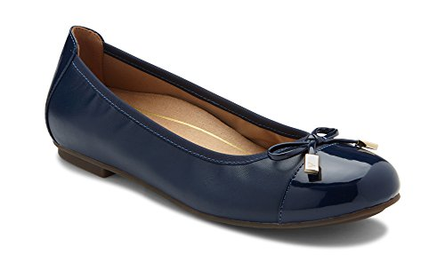 (Vionic Women's Spark Minna Ballet Flat - Ladies Cap Toe Walking Flats with Concealed Orthotic Arch Support Navy 10 Medium US)