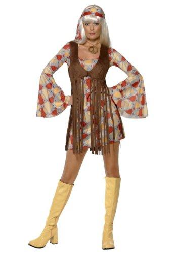 Smiffy's Women's 1960's Groovy Baby Costume, Dress and Fringe Waistcoat, 60's Groovy Baby, Serious Fun, Size 6-8, (Womens 1960s Groovy Baby Costumes)