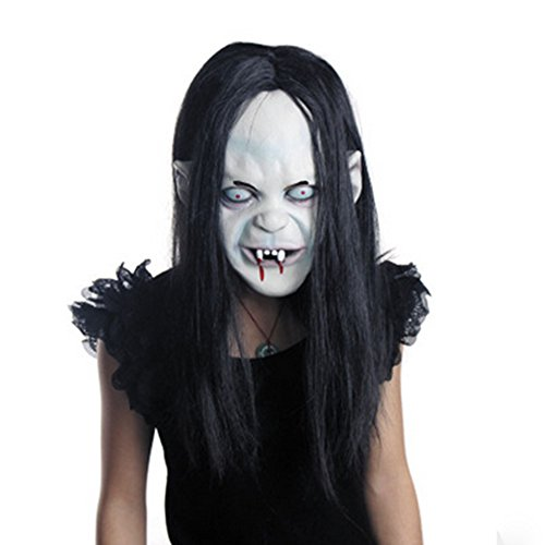 Zombie Ghost Face Bleeding Costumes (Halloween Ghost Mask Party Costume Latex Creepy Toothy Zombie with Hair)
