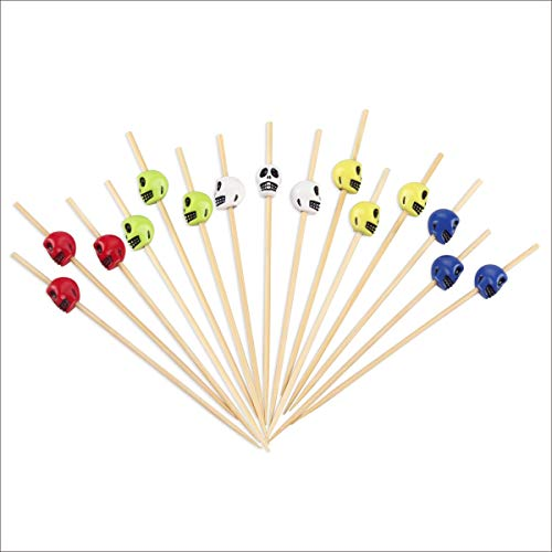 Halloween Skull Skewers for Appetizers 4.7 inch Fancy Cocktail Picks Long Bamboo Toothpicks Party Bar Drinks Food Fruits Decoration Supplies 100 Counts -MSL127 -