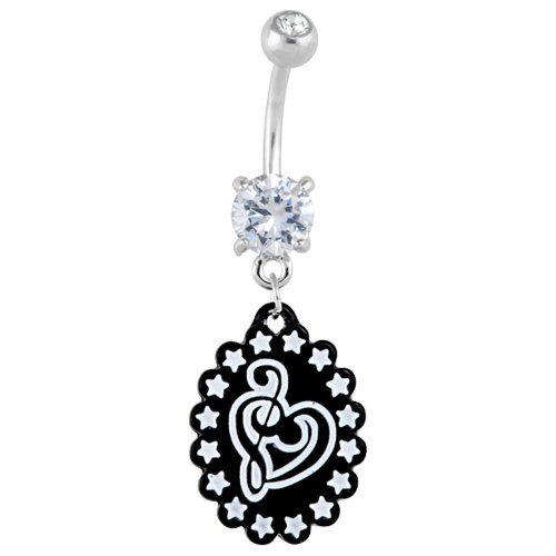 White Enamel Star Treble Clef Cameo Dangle Belly Ring