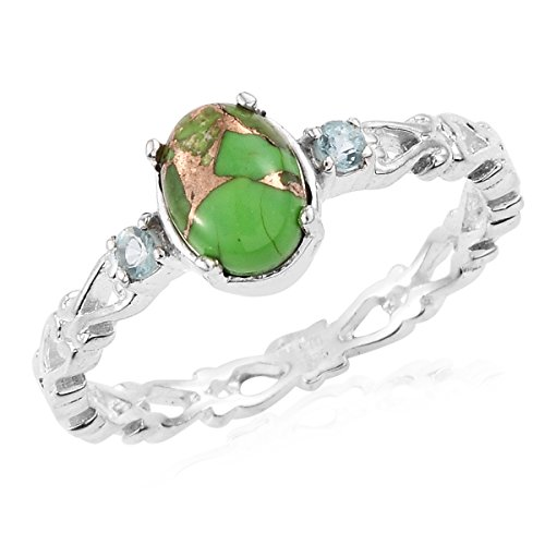 925 Sterling Silver Oval Green Turquoise, Apatite Fashion Ring For Women Size 9