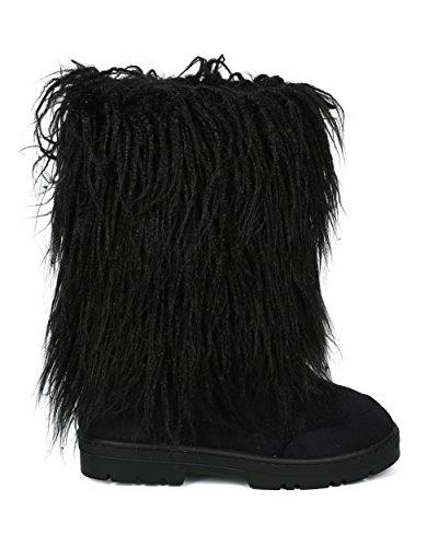 Alrisco Donna Boot Faux Fur Metà Polpaccio Suola Invernale - Hg75 By Nature Collezione Breeze Nero In Finta Pelle Scamosciata