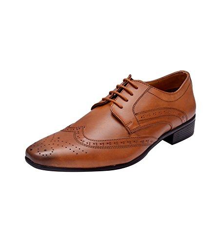 Hirel's Men's Tan Derby Brogues Formal Shoes - 10