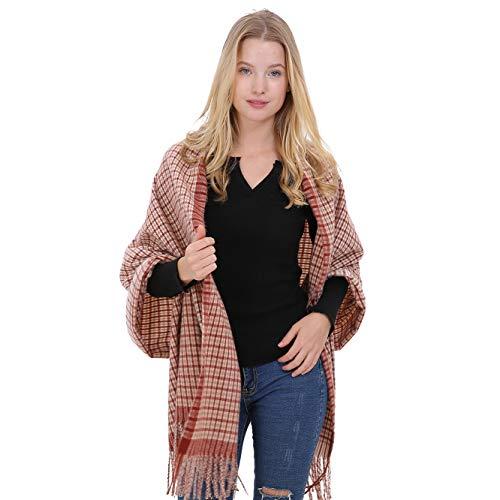 (Longwu Ladies Gift Idea Cashmere Pashmina Tartan Scarf Fashion Warm Wool Wrap Shawl Winter Stole for Women-01#)